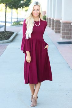 8c1aac1427f Bell Sleeve Dress Burgundy Wine Jersey Midi Dress with single strand  necklace, taupe sandals Modest