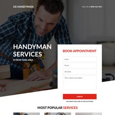 handyman service appointment booking landing page design Landing Page Html, Best Landing Page Design, Design Page, Ui Design, Web Design Websites, Handyman Service, Appliance Repair, Home Repair, Appointments