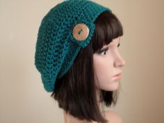 Crochet Hat Slouchy Hat Beanie Teal Blue by VillaYarnDesigns, $29.00