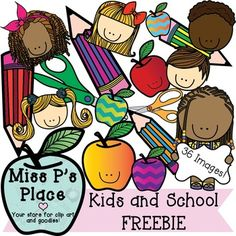 Miss Ps Place-Kids and School FREEBIE: This 36 image super freebie is an amazing steal that will add some happiness and joy to your activities. You will get 26 dynamically colored images and 10 black and white graphics to be used with any combination of lessons.