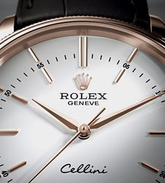 The Rolex Cellini Time features a redesigned white lacquer dial with 12 elongated applique hour markers. #RolexOfficial #Baselworld2016