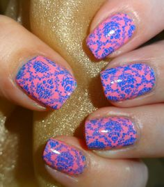 Wendy's Delights: MoYou Nails Stamping Plate 220 with MoYou Stamping Polishes Black, Blue & Burgundy @Monica Young Nails