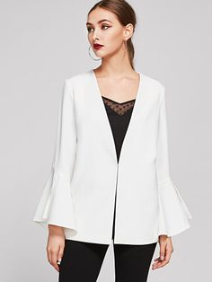 Exaggerate Bell Sleeve Hook And Eye Blazer
