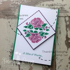 Floral Phrases Note of thanks card. Hello Blog Hop Week 4 #stampwithsarah