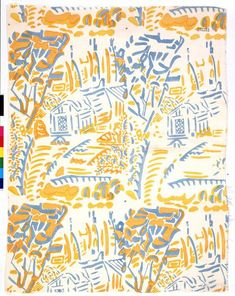 'Cornish Farm' dress fabric | Cornwall, England, 1930 | Designer: Alec Walker (1889-1964). Manufacturer: Cryséde Silks | Block printed silk | Many Cryséde fabrics were dyed in bold, clashing colours similar to those used by the Fauves. Their loose, painterly style and subject matter were a vibrant contrast to the discreet floral dress fabrics typical of the time | VA Museum, London