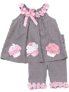 Rare Editions Baby Girls Birthday Cupcake Seersucker Dress Capri Outfit Set , Black , 3T « Clothing Impulse