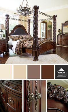 King poster canopy bed marble top 5 piece bedroom set - Elegant canopy bedroom sets ...