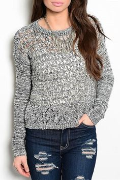 This long sleeve sweater features an open knit design and ribbed texture on neckline.   Grey Sweater by Adore Clothes & More. Clothing - Sweaters - Crew & Scoop Neck Washington