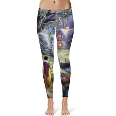 Snow White Princess Watercolor Pattern Capri & Full Length Leggings in... ($28) ❤ liked on Polyvore featuring leggings, grey and women's clothing