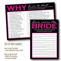 Set of Two: Instant Download Bridal Shower Games-- Why do we do that, Match Customs & Guess What the Groom Said--Customization NOT Included