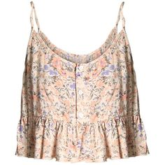 SECRETS Floral Cami Crop Top ($54) ❤ liked on Polyvore featuring tops, shirts, crop tops, tank tops, floral shirt, pink tank, camisoles & tank tops, floral crop top and crop shirts