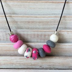 Pink and grey necklace, polymer clay necklace, beaded necklace handmade by rubybluejewels