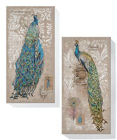 Loving this Peacock Canvas Wall Art Set on #zulily! #zulilyfinds