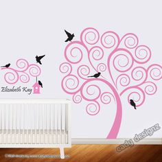 Swirl Tree Vinyl Wall Decal with Branch  Baby by CadyDesignz, $129.00