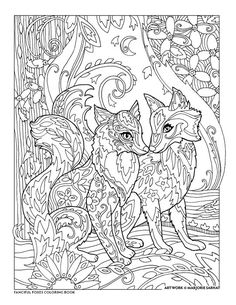 Creative Haven Fanciful Foxes Coloring Pages Fox Coloring Page, Free Adult Coloring Pages, Colouring Pics, Animal Coloring Pages, Coloring Book Pages, Art Plastic, Printable Coloring, Colorful Pictures, Zentangle