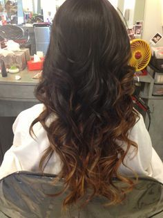 Natural ombre on dark hair color