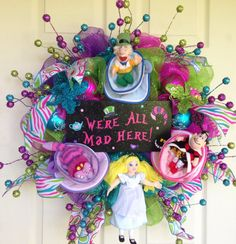 Alice in Wonderland Wreath by SparkleForYourCastle on Etsy, $159.00