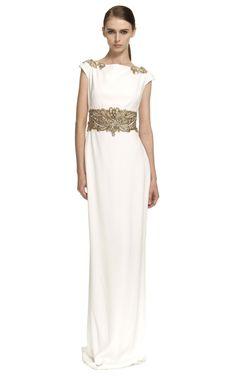Comprar Vestido de noche recto de crepe con mangas casquillo Marchesa en Moda Operandi