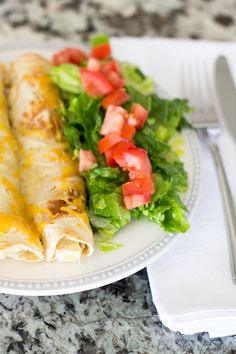 White Chicken Chili Enchiladas