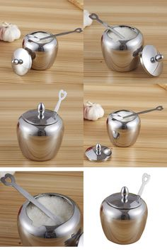 [Visit to Buy] Apple-shape Sugar Bowl Stainless Steel Kitchen Condiments Container 8.5cm * 10cm #Advertisement
