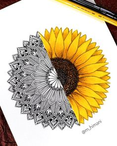 ⁣My entry for the ⠀ Floral and half mandala⠀ ⠀ I had been seeing sunflowers everywhere from last few days.⠀ Hence I decided… Cute Doodle Art, Doodle Art Designs, Doodle Art Drawing, Cool Art Drawings, Mandala Drawing, Art Drawings Sketches, Mandala Art Lesson, Mandala Doodle, Mandala Artwork
