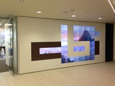 Christie Digital Microtiles integrated into a DIRTT wall.  33 Microtiles.