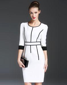 White Plain Stirped Bodycon Mini Dress