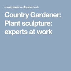 Country Gardener: Plant sculpture: experts at work