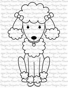Digital Stamp FeFe the Poodle van paperaddictions op Etsy Embroidery Applique, Cross Stitch Embroidery, Embroidery Patterns, Coloring Books, Coloring Pages, Theme Background, Quilting Templates, Dog Pattern, Poodles