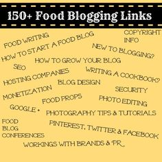 150+ Food Blogging Links for just about everything you ever needed to know about food blogging.