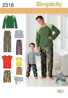 Simplicity Sewing Pattern 2318 Boys' and Men's Loungewear and Dog Top, A (S - L / S - XL)