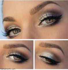 Perfectly shaped eyebrows, black eyeliner and silver smokey eyes. #silversmokey #makeup #eyeliner #eyebrows #smokeyeyes