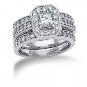 14K White Gold Diamond Bridal Set, 1 3/4 ctw.