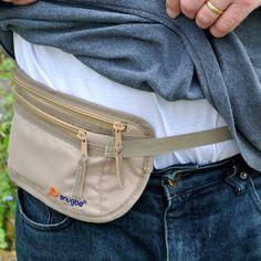 Travel Money Belt Light Slim Snug Waist Pouch Bag Hides Cards Cash Docs iPhone; Khaki: Amazon.co.uk: Luggage