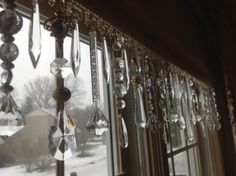 Dining room window decorated With crystal prisms