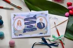 This is an example of one of Moveable Messs recent custom projects. View more information on custom work and bespoke wedding invitations at moveablemess.com. ----------------------- Working closely with my clients, Caroline & John, we created this totally unique, vibrantly illustrated,