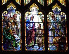 "Detail of ""Jesus in the Temple,"" 1906, Tiffany window, First Presbyterian Church, Haddonfield"