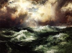 Thomas Moran, Moonlit Seascape.  1902.  Oil on canvas