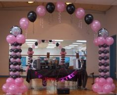 "Sweet Sixteen Party Decorations | BALLOON COLUMNS WITH ""STRING OF PEARLS"" ARCH:"