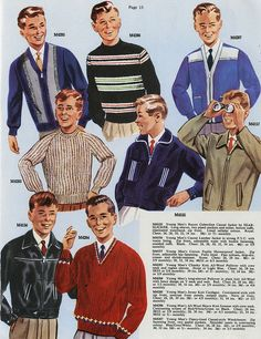 Men's fashions, 1961Sweaters became popular often ending right below the waistline. Business suits consisted of a casual top and brown slacks.