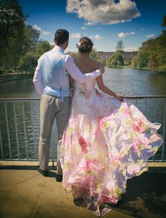Organza with printed flowers. We now have a new website address, www.sesaybridalwear.co.uk