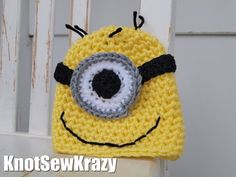 Kid's Crochet Hat Handmade  Minion by roxygal48 on Etsy, $16.99