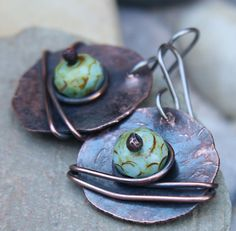 Hammered Copper Earrings Copper Jewelry by DogberryHillStudio