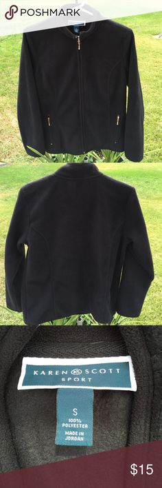 🍁Great Fall Fleece Jacket🍁 🇺🇸Black fleece jacket. Nice soft material perfect to grab and go for any occasion. Karen Scott Jackets & Coats