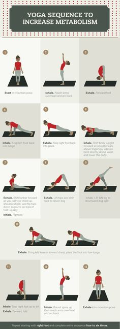 A typical sun salutation is a great way for the body to get moving, and increase sweat, breathing, and metabolism. #YogaTips,PosturesAndTechniques
