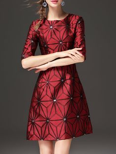 f942b682a18 Crew Neck Midi Dress Going out Half Sleeve Embossed Geometric Dress