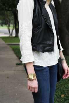 Top: Old // Vest: Shopbop // Denim: Citizens of Humanity // Heels: DSW // Handbag: Marc Jacobs // Sunglasses: Ray-Ban // Watch: Michael Kors // Bracelet: Henri Bendel // Nails: Essie Bahama Mama Photos: KRLMYR You know when you have the hardest… Black Leather Vest, Leather And Lace, Fall Outfits, Casual Outfits, Autumn Winter Fashion, Winter Style, Fashion Jackson, Denim Fashion, Womens Fashion