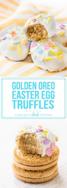 Golden oreo truffles in the shape of Easter eggs are so cute! Love the pastel sprinkles. | no bake recipe on www.ifyougiveablondeakitchen.com