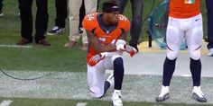 Brandon Marshall takes cue from Colin Kaepernick, kneels during national anthem. (Photo via NFL on CBS/Twitter)