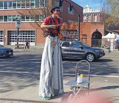 Musician on stilts at the Portland Saturday Market.